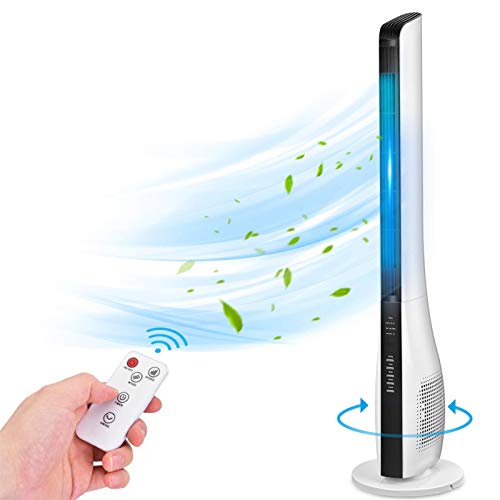 Bladeless Tower Fan for Bedroom, 43 Inch Quiet Oscillating Fan with Remote, 3 Wind Speeds & Modes, Standing Cooling Fan with Timer, Floor Fan for Whole Room, Air Circulator Fan for Home Office Kitchen