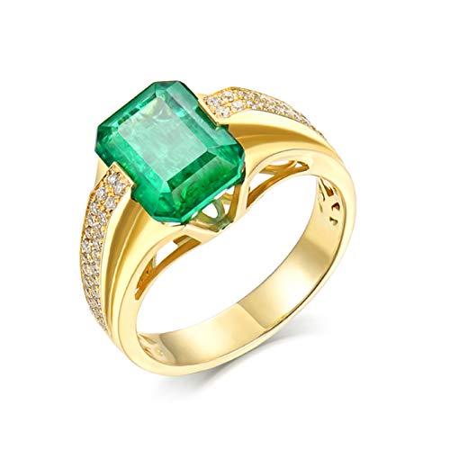 ANAZOZ Anillo Compromiso Hombre Esmeralda,Anillo Solitario Oro Amarillo 18 Kilates Oro Verde Rectángulo Esmeralda Verde 2ct Diamante 0.24ct Talla 15