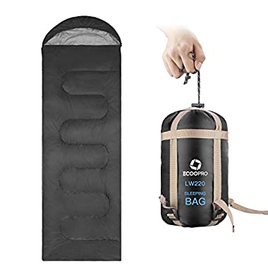 ECOOPRO Sleeping Bag 50F/15C– Single Envelope Lightweight Portable Waterproof&Compact with Compression Sack- Outdoor Camping, Backpacking&Hiking -Great for 4 Season Sleeping Bag Black
