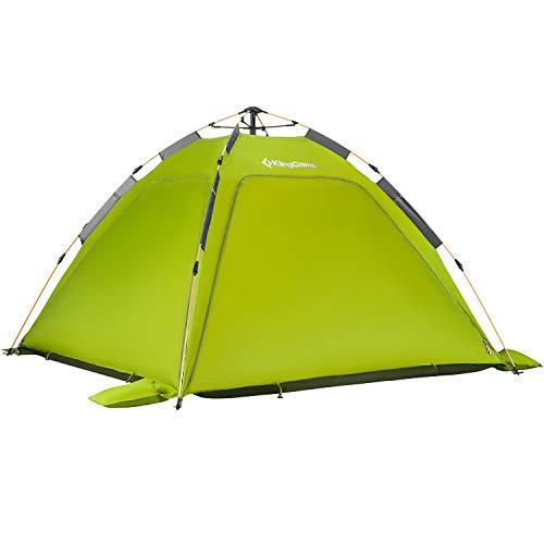 KingCamp Quick Up Campingzelt Strand Zelt 3-4 Personen mit übergrößen Moskitonetzen, grün