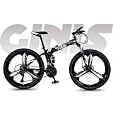 N&I Bike Soft Tail Foldable 26 inch Mountain Bike Teenage Student City Road Bicycle Double Disc Brake Off-Road Beach Snow Bikes Magnesium Alloy Integrated Wheels B 24 Speed A 24 Speed