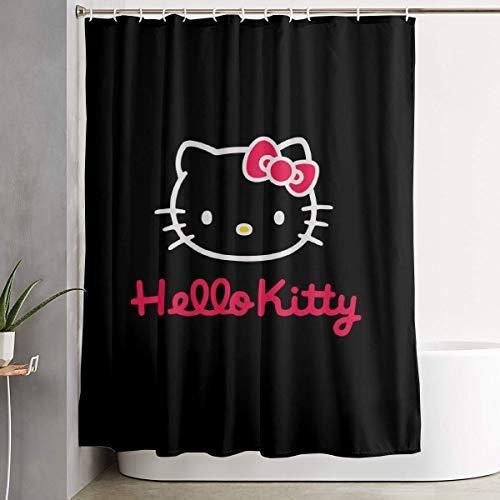 ChenZhuang Stilvoller Duschvorhang Schwarz und Pink Hello Kitty Printing Wasserdichter Badezimmervorhang 60 x 72 Zoll