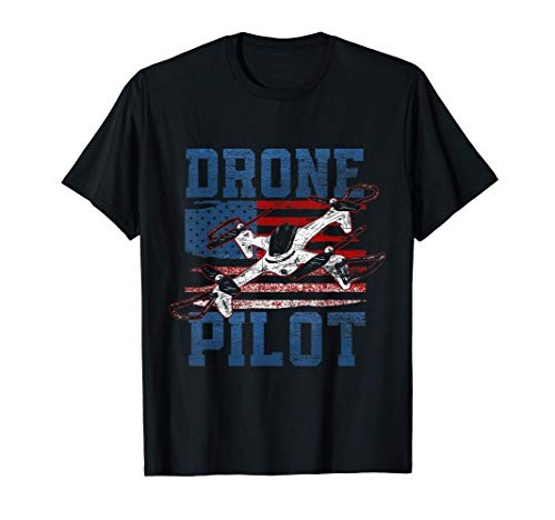 Drapeau Des États-Unis Quadrirotor Pilote De Drone T-Shirt