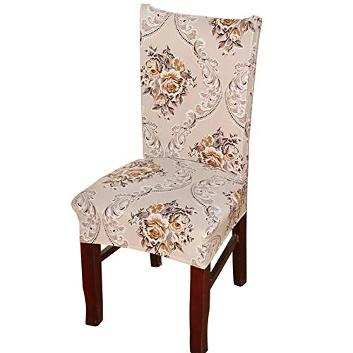 Printed Dining Chair Slipcovers, Removable Washable Soft Spandex Stretch Chair Covers Banquet Chair Seat Protector Slipcover for Kitchen Home Hotel (Set of 6, Gold)