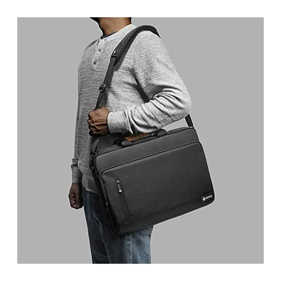 """tomtoc 13.5 Inch Laptop Shoulder Bag for 13-inch MacBook Pro, MacBook Air, Surface Book, Surface Laptop, Multi… 2 Compatibility: External dimensions- 14.17"""" x 10.43"""" x 2.76""""; Universal fit 13-inch MacBook Pro, MacBook Air, 12.9"""" iPad Pro, Microsoft Surface Book, Surface Laptop, Dell XPS 13, and more 13-inch laptops ultrabooks chrome books Ultra Protection: tomtoc laptop shoulder bag features protective padding at the bottom of the individual laptop compartmentand ultra-thick, yet lightweight protective cushioning to ensure your laptop will remain safe from drops, bumps, dents, scratches and spills, like the car airbag Well-organized: The main compartment features a laptop slot and a tablet slot for up to 11"""" iPad Pro with smart case & keyboard. Two front pockets With small and large pockets, and multiple elastic bands to make it easier than ever to organize accessories such as charger, cable, mouse, hub etc."""