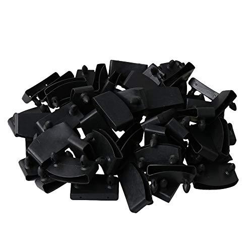 RDEXP Black Single End Caps Bettlattenhalter enthalten Ersatz zum Halten und Sichern von Holzlatten auf der 50er-Packung