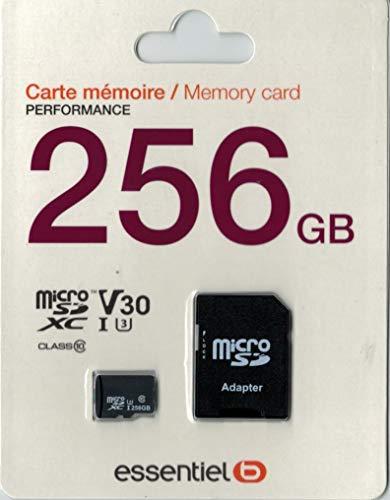 Carte Micro SD Micro SDXC 256 Go Performances - Classe 10 - Classe de Vitesse vidéo V30 UHS 3-4k