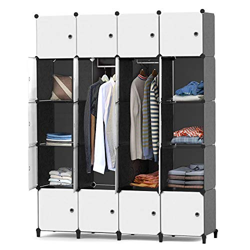 HOMIDEC Portable Closet Wardrobe with Clothes Hanging Rod, Closet Organizers and Storage Shelves Cabinet Armoire for Bedroom, (56'x18'x70', 20 Cube)