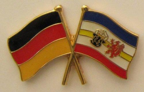 Mecklenburg Vorpommern / Deutschland Fre&schafts Pin Anstecker Flagge Fahne Nationalflagge Doppelpin Flaggenpin Badge Button Flaggen Clip Anstecknadel Meckpom