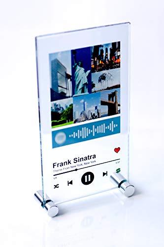 YOSTIC Cuadro en Cristal (No es plástico) Personalizado con canción y Foto. Regalo Original. Estuche DE Regalo. Regala música de una Forma Nueva. (10x18cm)