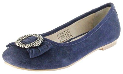 Bergheimer Trachtenschuhe Ballerinas Navy Velour Leder Damen Schuhe Anna, Größe:39 EU, Farbe:blau