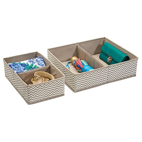 mDesign Organizador para cajones - Bandeja organizadora para gaveta con compartimentos para ropa interior - Set de dos separadores de cajoneras de 2 y 4 divisiones - material transpirable
