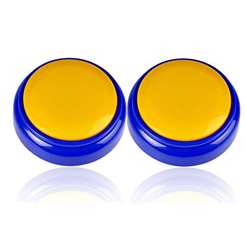 Neutral Record Talking Button-Easy Sound Recorder - Answer Buzzers-Funny Gag Gifts- Record & Playback Your Own Message -Set of 2 (Yellow+Blue)