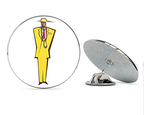 BRK Studio Cool Retro Vintage Abstract Man in Zoot Suit Cartoon Round Metal 0.75' Lapel Pin Hat Shirt Pin Tie Tack Pinback