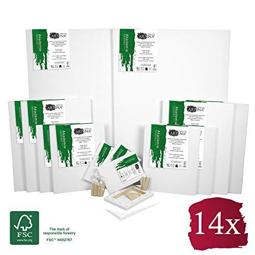 Artina FSC® Keilrahmen 14er Set Akademie - 50x70, 30x40 cm, 24x30, 13x18 cm Leinwand Set - 100% Baumwolle 280g/m²