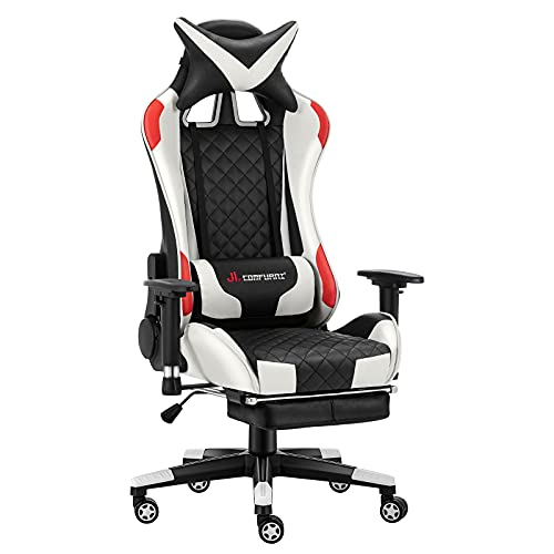 JL Comfurni Gaming Chair Racing Computer Chair Office Desk Chair High-Back Gaming Recliner Ergonomic Video Chair for adults PU Leather Swivel Esports Chair White & Red