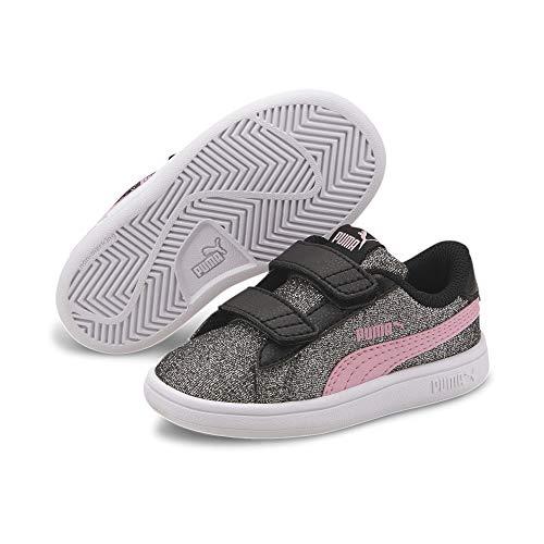PUMA Smash v2 Glitz Glam V Sneaker Kleinkinder schwarz pink Gr 23