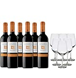 Legaris Pack Vino Tinto - 6 botellas de Legaris Crianza de 75cl + 6 copas - 4500 ml