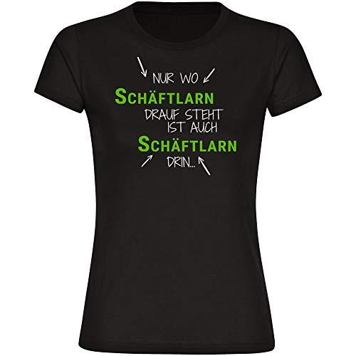 T-shirt alleen waar Schäflarn Drauf staat ook schachten erin zwart dames maat S tot 2XL