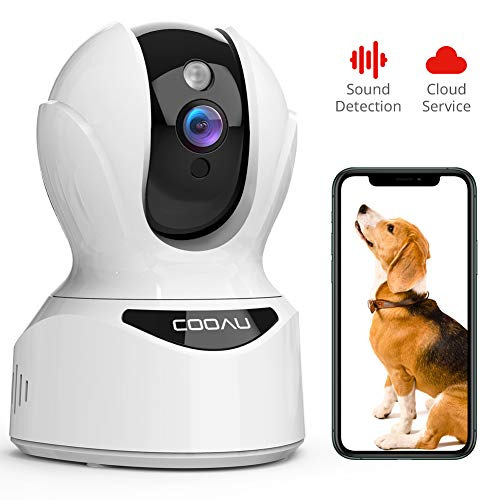 Pet Camera 1080P Wireless Security Camera, COOAU WIFI Indoor IP Cam with Pan/Tilt/Zoom, Sound Detection, Motion Tracking and Alert, Two Way Audio, Baby/Elder/Nanny/Dog Monitor, Support Cloud and Alexa