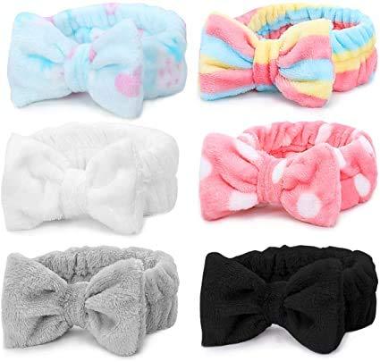 Bowknot Haarband für Make up - 6 Stück Kosmetische Stirnbänder Korallen Samt Elastisches Haarband zum Waschen Spa Yoga Beauty Gesichtspflege Make-up für Damen (Color D)