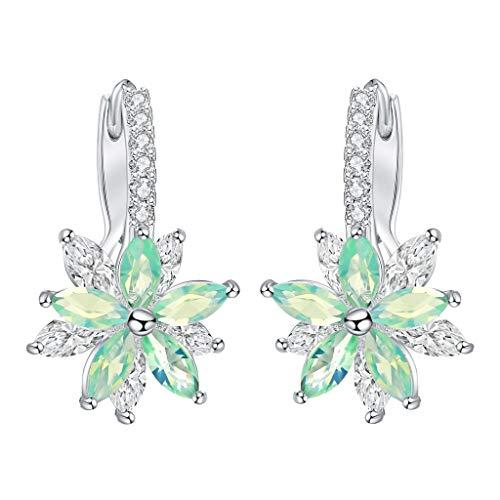 LABIUO Zarte Zirkon Blume Ohrringe Mode Zweischichtige Edelstein Damen Ohrringe(Grün,Freie Größe)