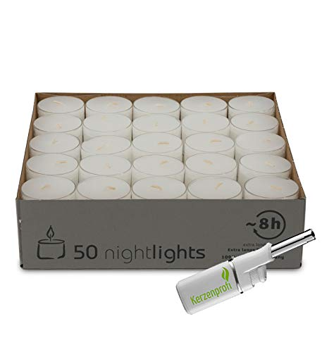 DecoLite 50 Wenzel Nightlights im Acrylcup - ca. 7-8 Stunden Brenndauer & Stabfeuerzeug (Kerzenprofi)