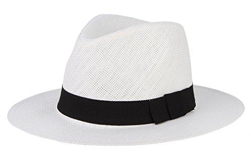 GEMVIE GEMVIE Unisex Fedora Strohhut Panama Sonnenhut Strandhut Größe 58cm Weiß