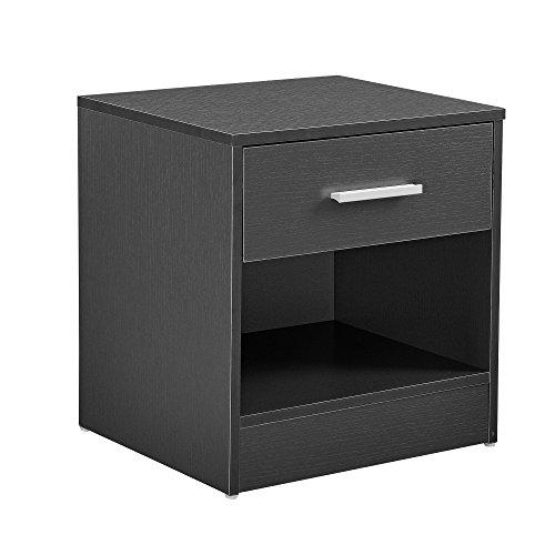 [en.casa] Eleganter Nachttisch mit Schublade und Ablagefach Nachtschrank Grau Schubladentisch Nachtkommode