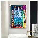 Tidyz Henri Matisse Open Window Vintage Celebrity Canvas Poster Frameless Only Poster(15.74X23.62 In)40X60 Cm No Frame