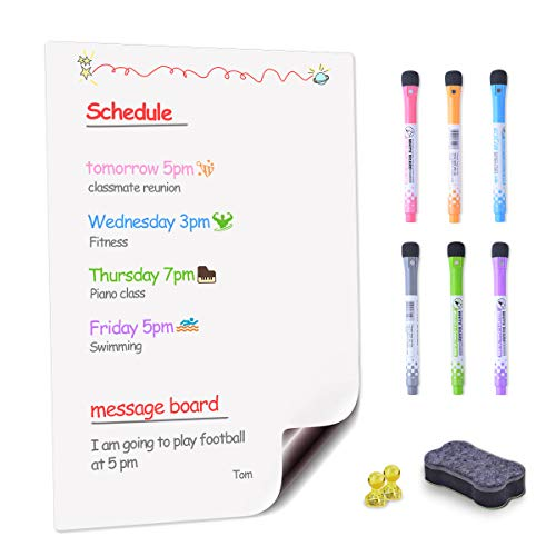 Magnetic Dry Erase Whiteboard Sheet for Fridge Kitchen, 17x12 inch Planning Board with 6 Magnetic Markers/2 x Magnetic Photo Holders and 1 Magnets Eraser