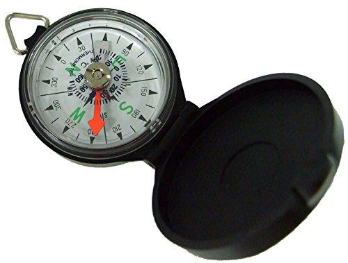 YCM 方位磁石 ポケットコンパス 防水 プラスチック 温度計 付き ホワイト G-47