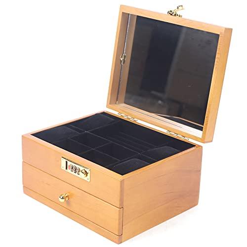 2 Capas Caja de Joyería Joyero de Madera Organizador de Joyas con Candado Combinado y Espejo Caja de Colección para Anillos Collares y Relojes Color de Madera