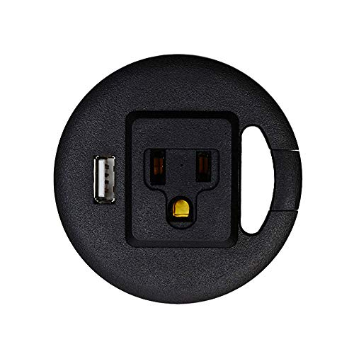Power Desk Grommet, Recessed Outlet for Computer Desk, Extension Cord or Power Strip for USB Charging Station, Power Station for Desktop Computer, USB Charging Hub with Cable Management (Black)