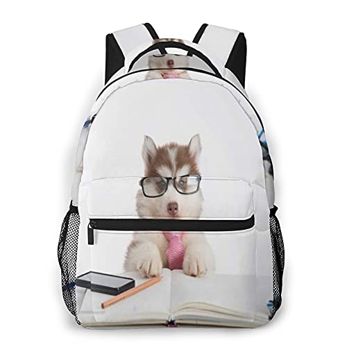 COVASA Mochila escolar informal,mochila de viaje,lindo cachorro de husky siberiano con gafas...