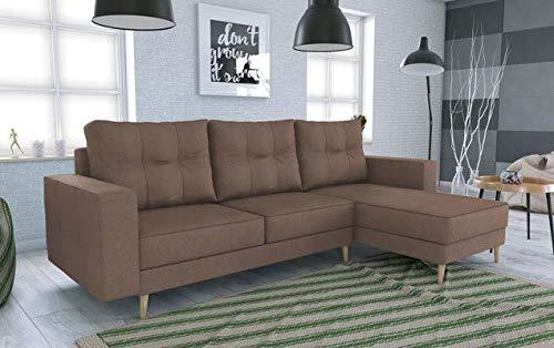 Canapé d'angle 2 places Marron Scandinave