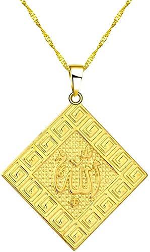 LKLFC Collar Mujer Collar Hombre Collar Color Dorado Collar de Alá Colgante Redondo con dijes Joyas árabes Profeta islámico Mujeres Hombres Oriente Medio Regalos Collar Colgante Niñas Niños Regalo