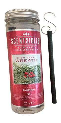 UK-Gardens Pack of 6 Christmas Snowberry Scented Stick Ornaments To Hang On Xmas Tree - Fragrance Scentsicles - Snow Berry
