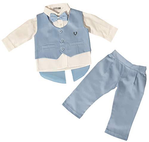 Dilaras Babybekleidung Taufanzug 4 Teilig Baby Jungen (Hellblau, 56/62 (0-3 Monate, Weste mit 3 Knöpfen))