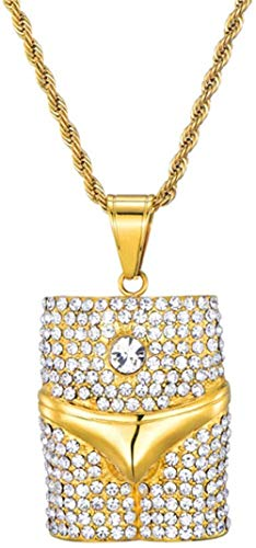 Bing Iced Out Sexy Underwear Colgantes Collares Hombres Acero inoxidable Rock Crystal Hip Hop Rapper Cool Street Jewelry