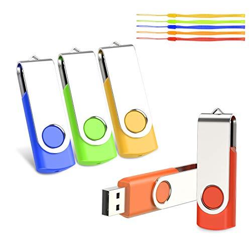kacai 5 Pezzi 16GB Chiavetta USB 2.0 Pen Drive 16 Giga Chiavette USB, Pennetta USB Rotazione a 360 ° Penna USB Unità Memoria Flash Penne USB,Chiave USB Con cordino Memoria Stick(Multicolore)