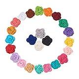 WANDIC, Rose in Feltro, 24 Pezzi, Decorazioni Floreali assortite, 24 Colori, per Artigianato, Fasce per Capelli, Vestiti, Accessori per Capelli