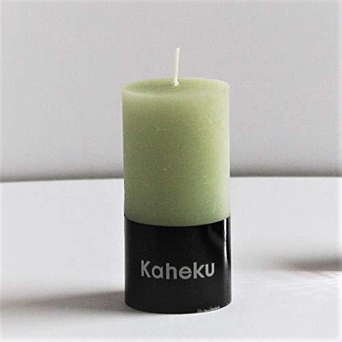 Kaheku Rustik Stumpenkerze Cylinderkerze grün Salbei durchgefärbt d5 h10 cm