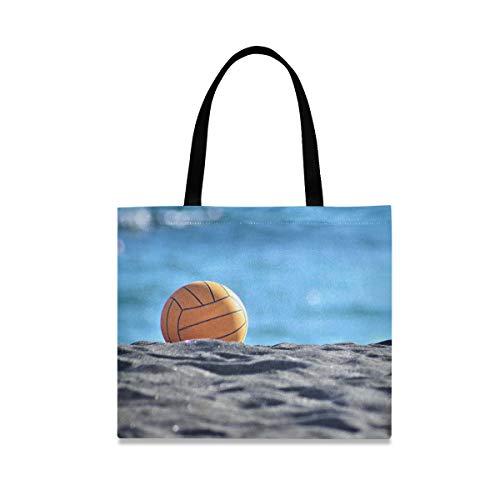 LZXO Segeltuch Tragetasche Sport Volley Ball Strand Natur Lange Griff Wiederverwendbar Lebensmittelbeutel Einkaufstasche Einkaufstasche mit Innentasche für Damen Mädchen