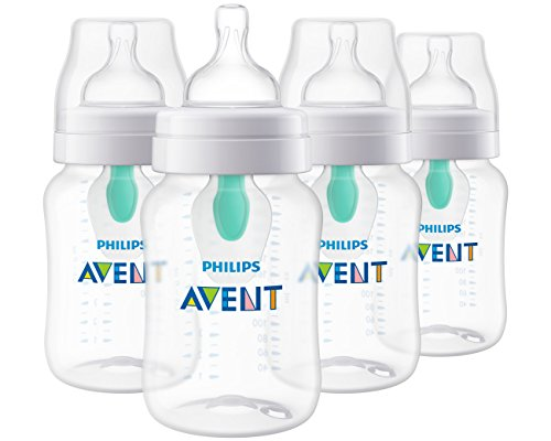 Philips Avent Anti-colic Baby Bottle with AirFree Vent, Clear, 9 Oz, 4 Pack, SCF403/44