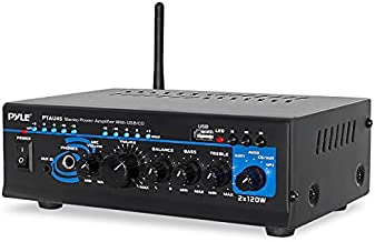 Home Bluetooth Audio Power Amplifier 2X120 Watt - Portable 2 Channel Surround Sound Stereo Receiver w/ USB - Amplified Subwoofer Speaker, CD DVD, MP3, iPhone, Phone, Theater, PA System - Pyle PTAU45