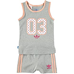Customer reviews Adidas Originals Infant Girls Americana Tank Tee and Shorts Full Set Baby Kids (3-6 Months):Amedama