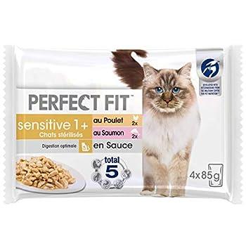 Perfect Fit Sensitive, Sachets fraîcheur pour Chat Adulte Sensible Stérilisé, en sauce au poulet et au saumon, 52 sachets repas de 85g