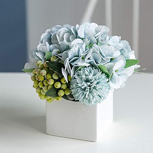 NAWEIDA Artificial Flower with Vase, Fake Peony Silk Hydrangea Flower Arrangements for Home Decor