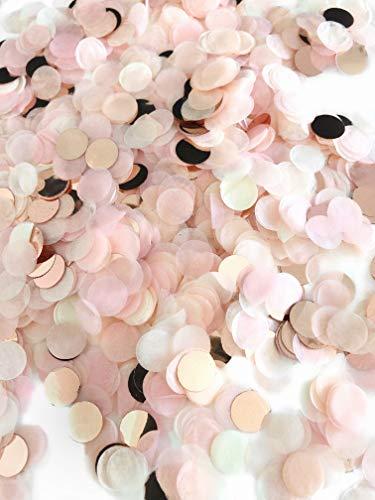 Konfetti rosegold mehrfarbig, 1cm rund, 20g, 1500 Stück – elegante und moderne Partydeko – Geburtstag, Hochzeit, Baby-shower, Silvester